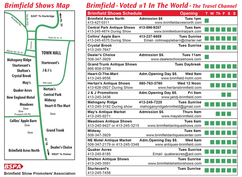 2018 Brimfield Show Dates