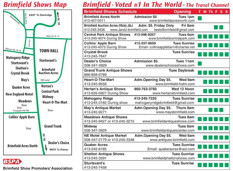 Brimfield Antique Flea Market  U2013 Show Map